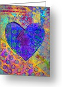 Vibrant Mixed Media Greeting Cards - Heart of Hearts series - Compassion Greeting Card by Moon Stumpp
