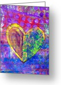 Vibrant Mixed Media Greeting Cards - Heart of Hearts series - Discovery Greeting Card by Moon Stumpp
