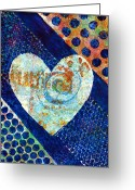Vibrant Mixed Media Greeting Cards - Heart of Hearts series - Elated Greeting Card by Moon Stumpp