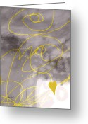 Ann Powell Greeting Cards - Heart Yellow and Gray Greeting Card by Ann Powell