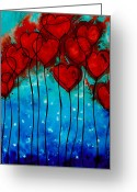 Engagement Painting Greeting Cards - Hearts on Fire Greeting Card by Sharon Cummings