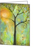 Green Greeting Cards - Hello Sunshine Tree Birds Sun Art Print Greeting Card by Blenda Tyvoll