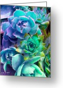 "\\\""photo Manipulation\\\\\\\"" Greeting Cards - Hens and Chicks series - Deck Blues Greeting Card by Moon Stumpp"