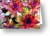 Watercolor Flowers Prints Greeting Cards - Hens and Chicks series - Garden Brass Greeting Card by Moon Stumpp