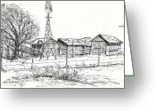"\\\""barbed Wire Fence\\\\\\\"" Drawings Greeting Cards - High Plains Barns Greeting Card by Joan Hartenstein"