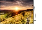 Simon Bratt Photography Greeting Cards - Hill fence sunset Greeting Card by Simon Bratt Photography
