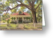 Photographs With Red. Greeting Cards - Historical Jefferson Texas Home Greeting Card by Donna Wilson