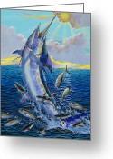 Marlin Azul Greeting Cards - Hit and Miss Greeting Card by Carey Chen
