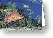 Aquarium Painting Greeting Cards - Hog Heaven  Greeting Card by Carey Chen