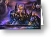 Witches Greeting Cards - Hogwarts   Greeting Card by Andrzej  Szczerski