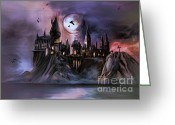 Witches Greeting Cards - Hogwarts Castle... Greeting Card by Andrzej  Szczerski