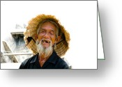 Old Man Fishing Greeting Cards - Hoi An Fisherman Greeting Card by David Smith