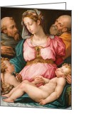 Featured Greeting Cards - Holy Family with the Infant Saint John the Baptist and Saint Francis Greeting Card by Giorgio Vasari