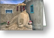 Taos Pueblo Greeting Cards - Home On Taos Pueblo Greeting Card by Sandra Bronstein