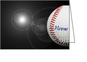 Baseball Game Digital Art Greeting Cards - Home Run - Baseball - Sport - Night Game - Panorama Greeting Card by Andee Photography