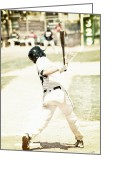 Team Greeting Cards - HomeRun Hitter Greeting Card by Karol  Livote