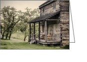 Log House Greeting Cards - Homestead at Dusk Greeting Card by Heather Applegate