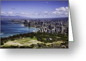 Diamond Head Greeting Cards - Honolulu from Diamond Head Greeting Card by Joanna Madloch