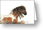 Fine American Art Greeting Cards - Hopa Majestic Mustang 63 Greeting Card by AmyLyn Bihrle