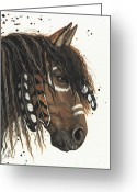 Native Portraits Greeting Cards - Hopa Majestic Mustang Series 47 Greeting Card by AmyLyn Bihrle