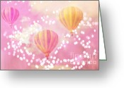 Baby Room Photo Greeting Cards - Hot Air Balloon Surreal Dreamy Pink Yellow Hot Air Balloon Art Greeting Card by Kathy Fornal