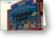 Nathans Greeting Cards - Hot Dog Eating Contest  Greeting Card by Susan Carella