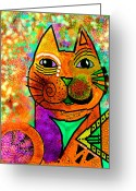 Kitty Greeting Cards - House of Cats series - Blinks Greeting Card by Moon Stumpp