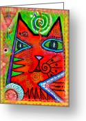 Feline Greeting Cards - House of Cats series - Bops Greeting Card by Moon Stumpp