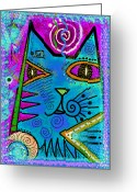 Kitty Greeting Cards - House of Cats series - Dots Greeting Card by Moon Stumpp