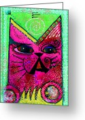 Feline Greeting Cards - House of Cats series - Glitter Greeting Card by Moon Stumpp