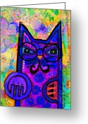 Contemporary Portraits. Greeting Cards - House of Cats series - Paws Greeting Card by Moon Stumpp