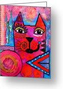 Contemporary Portraits. Greeting Cards - House of Cats series - Tally Greeting Card by Moon Stumpp