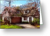 Architectural Greeting Cards - House - Westfield NJ - Who doesnt love spring  Greeting Card by Mike Savad