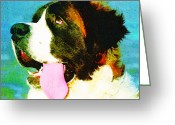 Dog Prints Greeting Cards - How Bout A Kiss - St Bernard Art by Sharon Cummings Greeting Card by Sharon Cummings
