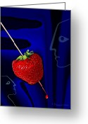 Torture Greeting Cards - How to stab a  strawberry 291 Greeting Card by Irmgard Schoendorf Welch
