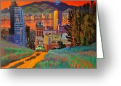 Taos Greeting Cards - I Love New York City Jazz Greeting Card by Art West