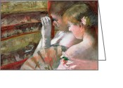 Cassatt Greeting Cards - In the Box Greeting Card by Mary Stevenson Cassatt