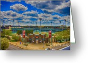 Baseball Paint Greeting Cards - Indianapolis Indians Victory Field Greeting Card by David PixelParable
