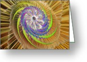 Digital Surreal Art Greeting Cards - Inner Twister Greeting Card by Deborah Benoit
