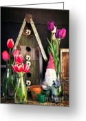 Shed Photo Greeting Cards - Inside the Potting Shed Greeting Card by Edward Fielding