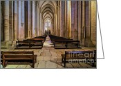 Old World Photography Greeting Cards - Interior of the Mosterio da Batalha Greeting Card by David Letts