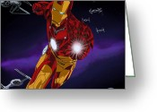 Comic. Marvel Greeting Cards - Iron Force Greeting Card by Penny Ovenden