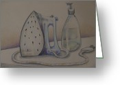 Colored Pencil Greeting Cards - Ironing Greeting Card by Larry Preston