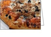 Dinner Greeting Cards - Italian Sausage And Olive Pizza 2 - Pizzeria - Pizza Shoppe Greeting Card by Andee Photography