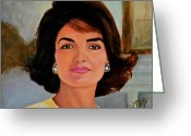 Camelot Greeting Cards - Jackie Kennedy Onassis Greeting Card by Shirl Theis
