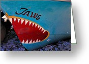 Teeth Greeting Cards - Jaws boat bow Greeting Card by Garry Gay