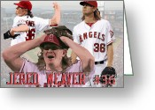 Baseball Drawings Greeting Cards - Jered Weaver Greeting Card by Israel Torres