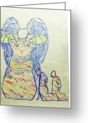 Divine  Ceramics Greeting Cards - Jesus Guardian Angel Greeting Card by Gloria Ssali