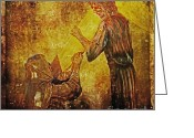 Way Of The Cross Greeting Cards - Jesus Meets His Mother Via Dolorosa 4  Greeting Card by Lianne Schneider