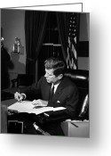 President Kennedy Greeting Cards - JFK Signing The Cuba Quarantine Greeting Card by War Is Hell Store